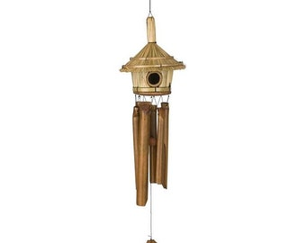 Thatched Roof Birdhouse (Bamboo) - Custom Woodstock Wind Chime