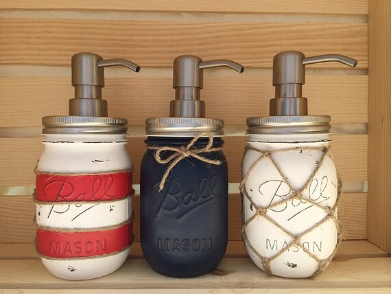 Lighthouse Nautical Bathroom Accessories: Choose 1 Mason Jar Soap Dispenser Nautical Nautical Decor