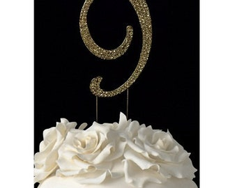 "Gold Number ""9"" Rhinestone Cake Topper"