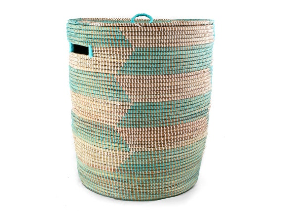 african storage basket with lid aqua white by swahilimodern. Black Bedroom Furniture Sets. Home Design Ideas