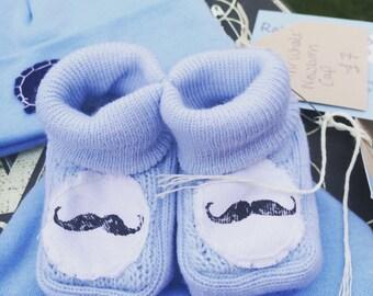 Mr Moustache | Baby Boy Clothes | Newborn Baby Mustache | Baby Shoes Moustache Booties | Mustache Slippers Baby Blue Shoes | Boys Clothes