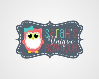 Premade Logo, Owl Logo, Boutique Logo Design, Typography Logo, Custom Business Logo