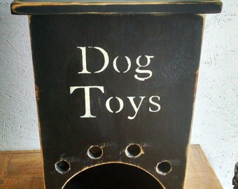 Primitive Dog Toy Box Black or White Dog Toys