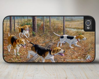 "Beagle iPhone 5s Case, Beagle Phone Case, Beagle Hunting Dog Phone Case, iPhone Protective Case ""Eager Beagles""  50-5352"