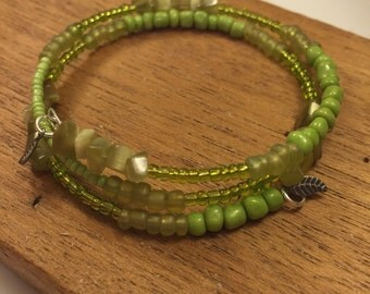 Fern Collection Beaded Wrap Memory Wire Bracelet