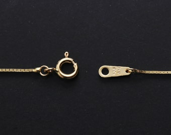 """14K Solid Yellow Gold, 585, 16"""",18"""",20"""",22"""",24"""",26"""",28"""",30"""",1.0mm Box Chain Necklace"""