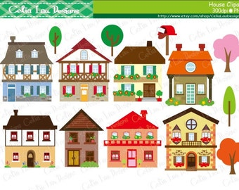 House clipart - houses clip art, buildings, homes, cute houses / INSTANT DOWNLOAD (CG136)