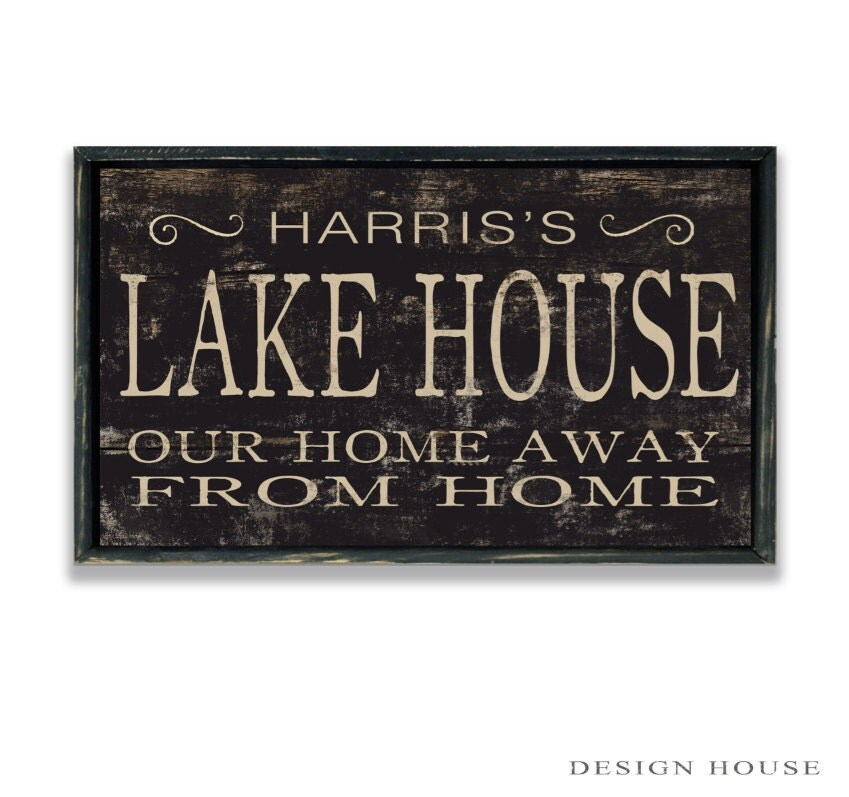 Lake Signs Wall Decor : Personalized lake house wooden sign wall decor