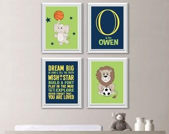Baby Boy Nursery Decor. Baby Boy Nursery Art. Boy Bedroom Decor. Boy Bedroom Art. Animal Sports Nursery Decor. Sports Nursery Art. NS-754