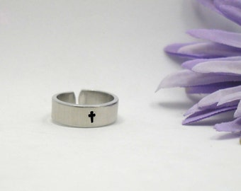 Personalized Ring - Girlfriend Ring - Inspirational Ring - Cross Ring - Handstamped Ring - Aluminum Ring - Adjustable Ring - Silver Ring