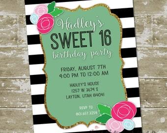 Sparkle Stripe Rose Sweet 16 Birthday Invitation