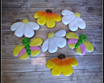 """Flower and butterfly Decorated sugar cookies 3"""" -1 dozen"""