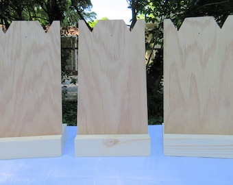 """Set of 3, Medium, Necklace, Stand, Craft, Show, Displays, Unfinished, Wood, Jewelry, 11'x6"""", Durable, Portable, Unfinished Wood"""