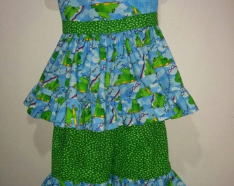 Girls Back To School Reading Nerdy Frogs Boutique Pants Set Outfit! Twirly Shirt! 3 4 5 6 7 8 First Day!