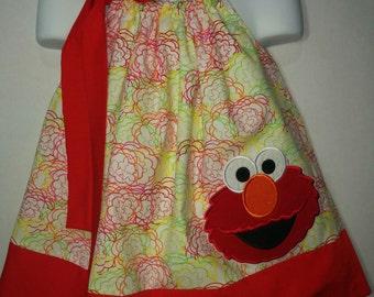 Sesame Street Elmo Red Monster Girl Pillowcase Pillow Case Girl Birthday Party Boutique Summer Sun Dress! Sizes 2 3, 4, 5, 6, 7 8 10 12 14