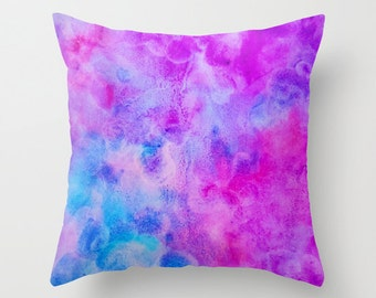 Throw Pillow, Watercolor Pillow, Pillow Cover, Blue, Pink and Purple, Watercolor Art, Home Decor, Accent Pillow, with Optional Insert