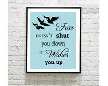 """Divergent Digital Art Print - Tris Prior - Raven Tattoo - Fear Doesn't Shut You Down It Wakes You Up Quote - Four - Dauntless - 8""""x10"""" Print"""