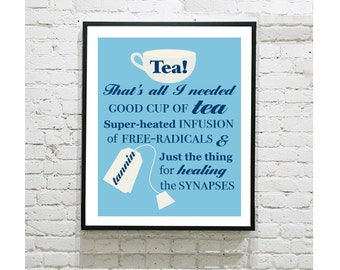 "Doctor Who Digital Art Print - Tea Quote - TARDIS - Cup of Tea - British - Ten - 10th Doctor - David Tennant - Weeping Angel -  8""x10"" Print"