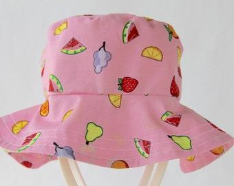 Pink Sun Hat, Fruit Hat, Summer Hat, Cotton Hat, Bucket Hat, Girls Hat for Newborn, Baby, Toddler & Children