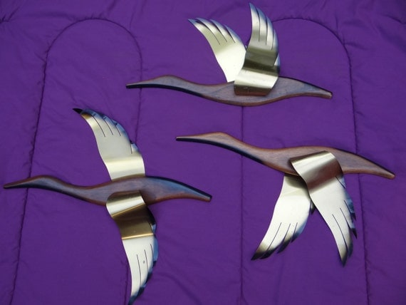 Mid Century Wall Art Flying Geese Brass Metal Wood Vintage