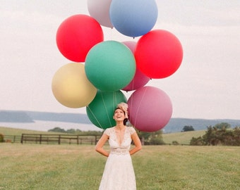 12pcs Giant Latex Round Color Balloon Mixed ( 36 inch ) - Wedding, Party, Event Decor, Photo prop