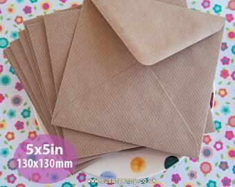 "Kraft Envelopes, 50pk, Brown Ribbed Envelopes, 5x5"" Envelopes, Square Kraft Paper Envelopes PSS090"