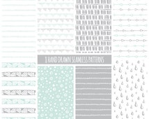 Hand Drawn Digital Paper: Tribal, Geometric, Doodles; Seamless Patterns; Printable Scrapbook Paper; Web & Print Background; Mint and Gray
