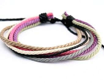 Handmade Hemp Bracelet Men Women Wrap Wrist Cord Surfer Fashion Braclet  HB-12