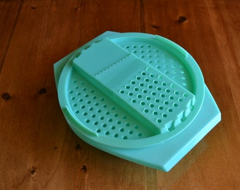 Tupperware Bowl with Grater Top Vintage Green