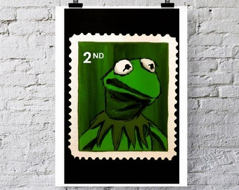 The Muppet's Kermit the Frog 2nd class stamp.  Greetings card/Art print