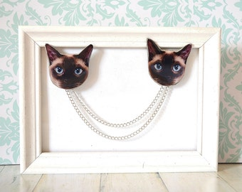 siamese cat , siamese jewelry , siamese cat jewelry , siamese gift , siamese gift idea , siamese lover , cat with blue eyes, kitty jewelry