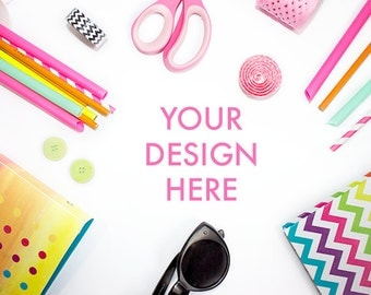 Party Styled Stock Photo | Desk Stock Photo | Colorful | White Desk | Office Stock Photo | Neon Colors | Styled Stock Photography