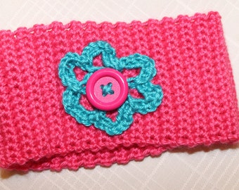 Pink/Blue Flower Baby/Toddler Crocheted Headband