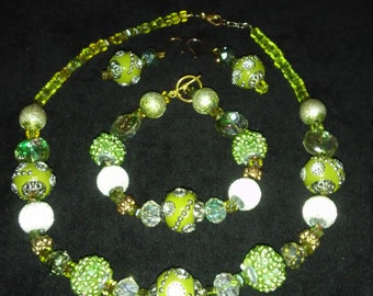 Jewelry Set in Sage Green Bling
