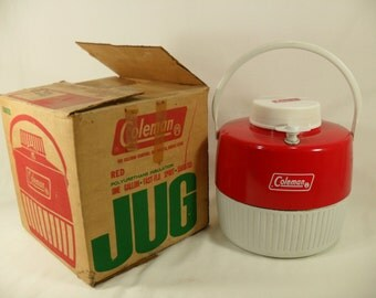 Vintage red 1975 coleman water cooler jug camping with origional box retro