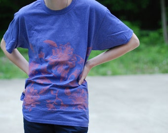 Floral screenprinted tee shirt women top