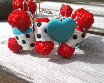 Turquoise And Red Corsage Cuff