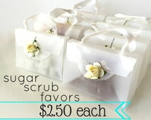 Bridal Shower Favors - Sugar Scrubs - 2.50 each - Unique Bridal Shower Favors - Frosted Purses with Ivory Paper Rose - Mini Sugar Scrubs