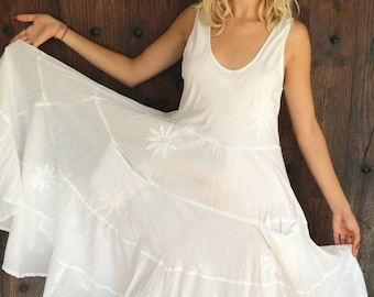 SALE   ! Long white sundress witg hand made flower embroidery