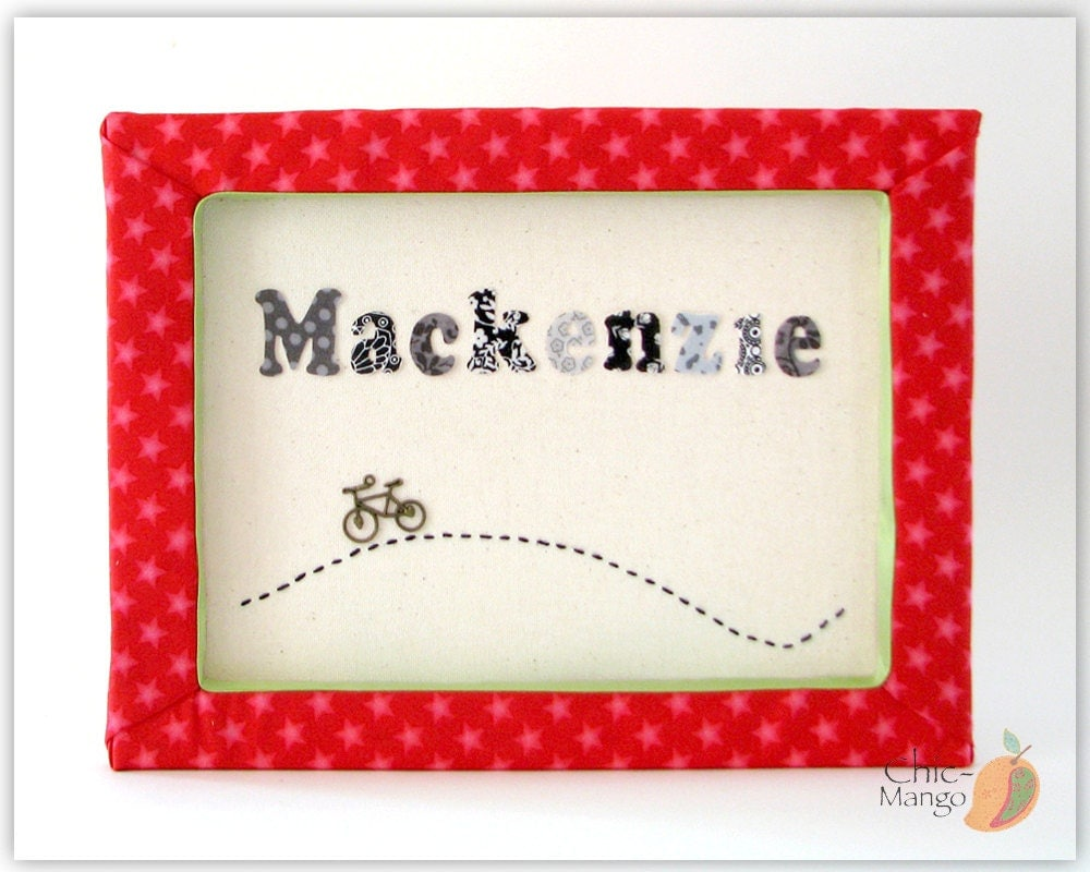 bicycle wall art personalized wall art baby gift baby name. Black Bedroom Furniture Sets. Home Design Ideas
