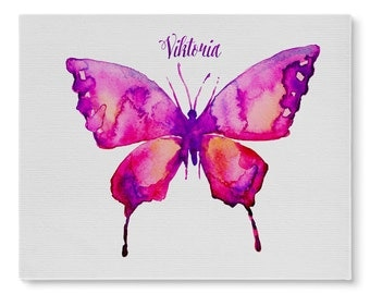 Little Girl's Personalized Butterfly- Canvas Wall Art
