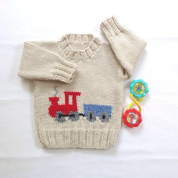 baby pullover mit zug motiv 6 bis 12 monate gestrickte. Black Bedroom Furniture Sets. Home Design Ideas