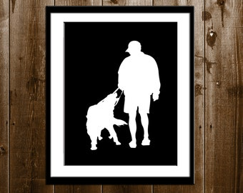Custom Dog Dad Silhouette Portrait, Custom Dog Gift, Pet Silhouette Art Print, Pet Portrait, Personalized Dog gift from your Photo