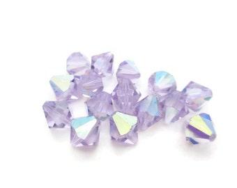 Vintage Light Amethyst AB Czech Crystal Bicone Preciosa Crystal Beads, 10mm, 8pcs