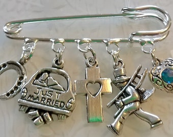 Wedding Day kilt pin brooch~mr and mrs~something blue~Just Married~wedding bespoke gift