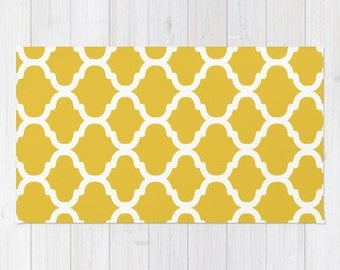 Moroccan Pattern Area Rug - Mustard Yellow and White - Modern Area Rug - Home Decor - Aldari Home