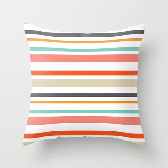 Modern Family Pillow Stripe : Modern Stripes Pillow Cover Striped Pillow Coral Orange