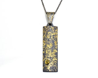 Cosmic Fused 22kt Gold and Oxidized Silver Pendant with Yellow Diamond