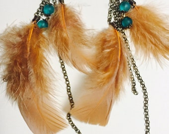 Glamour Light Brown Feather Earrings with Turquoise Glass Beads
