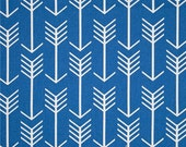 Royal Blue Arrow Fabric by the Yard Designer Cotton Drapery or Upholstery Fabric Cobalt Blue Tropical Tribal Southwest Arrow Fabric B152